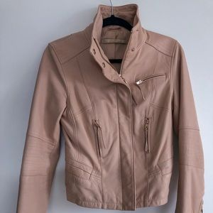 ZARA Pink Lamb leather jacket rosegold hardware, S